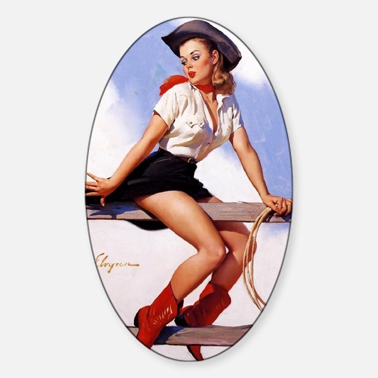 cowgirl pinup girl Decal