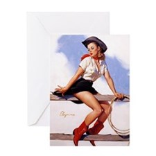 cowgirl pinup girl Greeting Card
