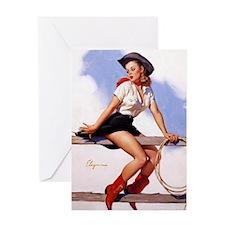 cowgirl pinup girl Greeting Card
