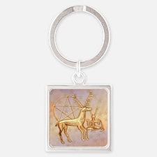 Gold Deer, Pentacle, &  Gold Cernu Square Keychain