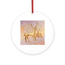 Gold Deer, Pentacle, &  Gold Cernun Round Ornament