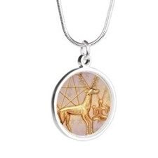 Gold Deer, Pentacle, &  Gold Silver Round Necklace