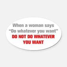 when-a-woman-akz-gray-red Oval Car Magnet