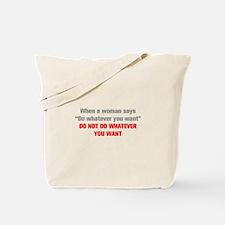 when-a-woman-akz-gray-red Tote Bag