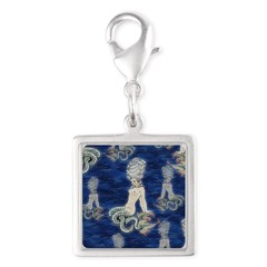 Little Rococo mermaid Silver Square Charm