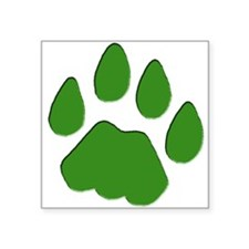 Green Cougar Track Rectangle Sticker
