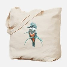 Watercolor Painting Kingfisher Bird Tote Bag