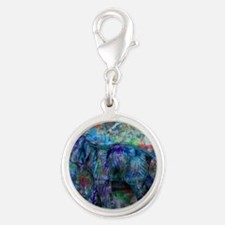 abstract elephant Silver Round Charm