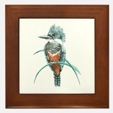 Watercolor Painting Kingfisher Bird Framed Tile
