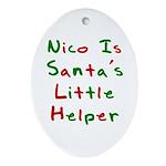 Nico Is Santa's Little Helper Oval Ornament
