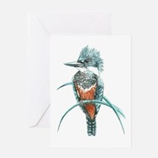 Watercolor Painting Kingfisher Bird Greeting Card