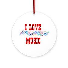 I LOVE MUSIC Ornament (Round)