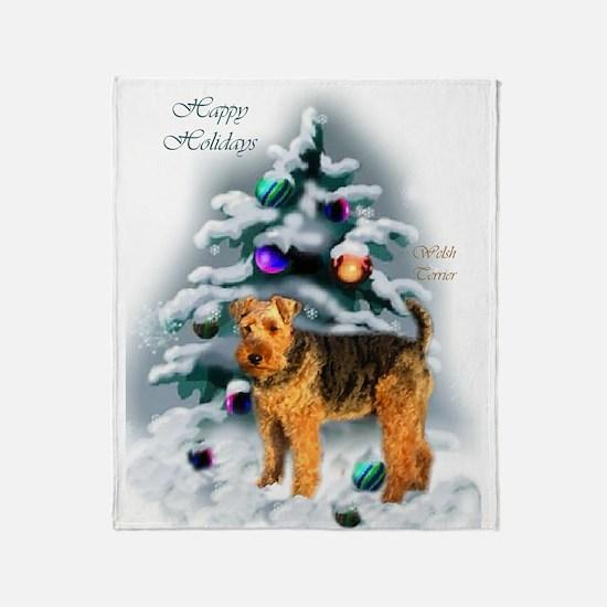 Welsh Terrier Christmas Throw Blanket