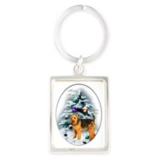 Welsh Terrier Christmas Portrait Keychain