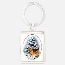 Welsh Terrier Christmas Portrait Keychain