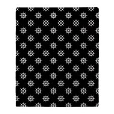 Black White Ship Wheels Throw Blanket