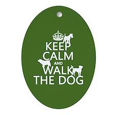 Keep Calm and Walk The Dog Ornament (Oval)