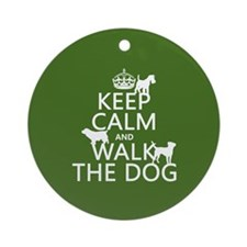 Keep Calm and Walk The Dog Ornament (Round)