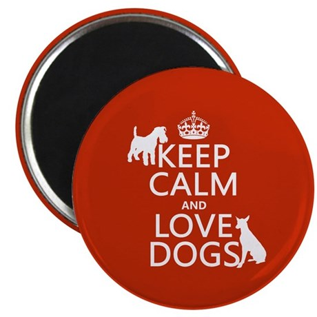 """Keep Calm and Love Dogs 2.25"""" Magnet (100 pack)"""