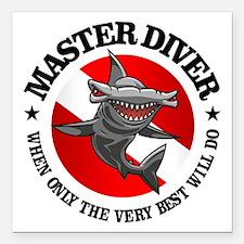 "Master Diver (Hammerhead) Square Car Magnet 3"" x 3"