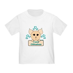 I Love Chihuahuas Cartoon (Blue) T
