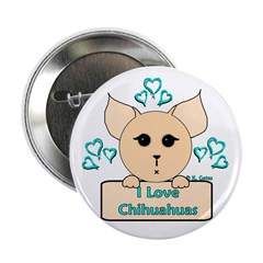 "I Love Chihuahuas Cartoon (Blue) 2.25"" Button (100"