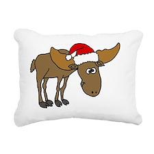 Funny Christmas Moose Ca Rectangular Canvas Pillow