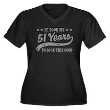 Funny 51st Birthday Women's Plus Size V-Neck Dark