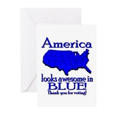 America Looks Awesome in Blue Greeting Cards (Pack