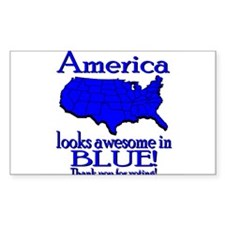 America Looks Awesome in Blue Sticker (Rectangular