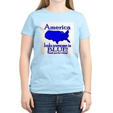 America Looks Awesome in Blue Women's Pink T-Shirt