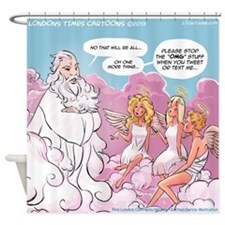 OMG Angels Texting Shower Curtain