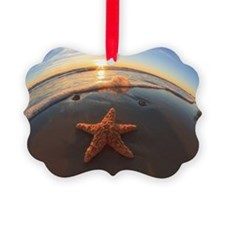 Starfish on Beach at Sunset Ornament