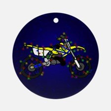 Christmas Lights Yellow Dirt Bike Ornament