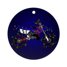 Christmas Lights Blue Dirt Bike Christmas Ornament
