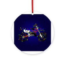 Christmas Lights Blue Dirt Bike Christmas Ornament