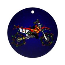 Christmas Lights Red Dirt Bike Christmas Ornament