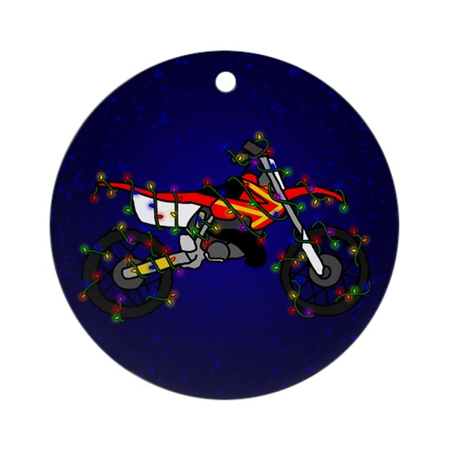 Christmas Lights Red Dirt Bike Christmas Ornament by rabidtees
