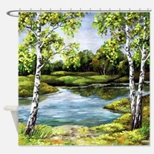 Woodland Lake Canvas Painting Shower Curtain