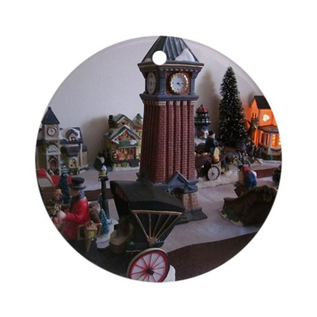 Christmas Clock Tower Round Ornament