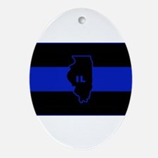 Thin Blue Line Illinois Ornament (Oval)