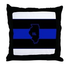 Thin Blue Line Illinois Throw Pillow