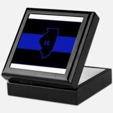 Thin Blue Line Illinois Keepsake Box