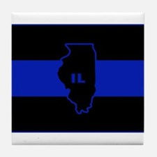 Thin Blue Line Illinois Tile Coaster