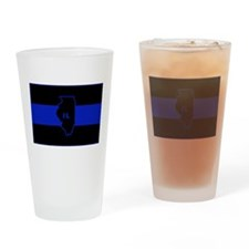 Thin Blue Line Illinois Drinking Glass