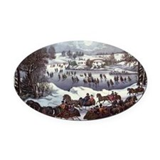 Central Park in Winter Oval Car Magnet