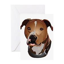 Pitbull head portrait Greeting Card