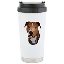 Pitbull head portrait Travel Mug
