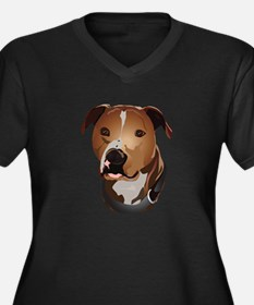 Pitbull head portrait Plus Size T-Shirt