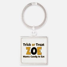 Zoe Trick or Treat Square Keychain
